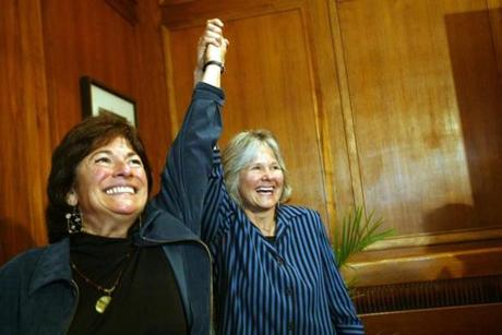 Marcia Kadish and Tanya McCloskey celebrated after they were married at Cambridge City Hall.
